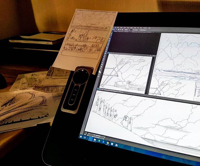 A peek into my current world. Working on the final pages of my #comic . It's a vaguely chaotic process, but it's working. #gettingthere #creative #process #workspace #homestudio #freelance #freelancer #illustrator #illustration #art #artist #digital #digitalart #paper #sketches #traditonal #pages #mixedmedia #wacom #linework