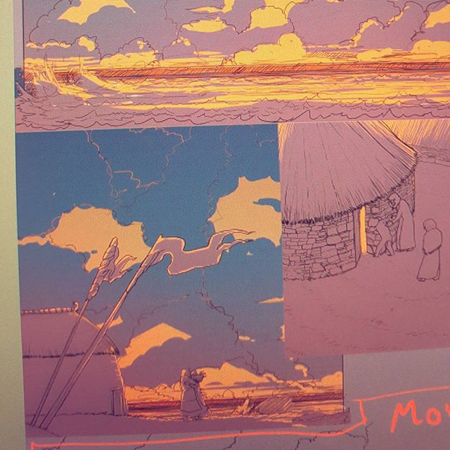 A snippet of an in-progress page for my comic.  #shepherdswarning  #comic #wip #page #panels #graphicnovel #sunrise #gettingthere #purple #gold #blue #clouds #celtic #picts #norse #longhouse #viking #illustrator #illustration #freelance #freelancer #wacom #tablet #wacomtablet