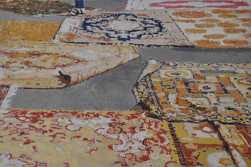 Carpets on Asphalt, 2016, oil on canvas, 120x180 cm, collection of the Israel Museum, Jerusalem