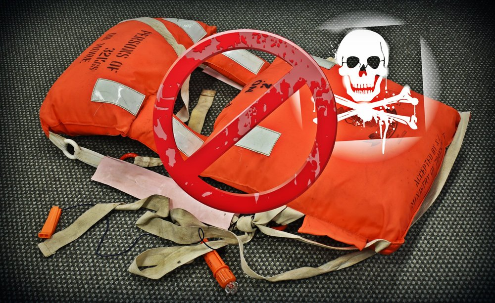 Kapok-filled lifejackets are considered dangerous, and are recommended to be disposed of and replaced before you hit the water this summer. Image from Maritime NZ.
