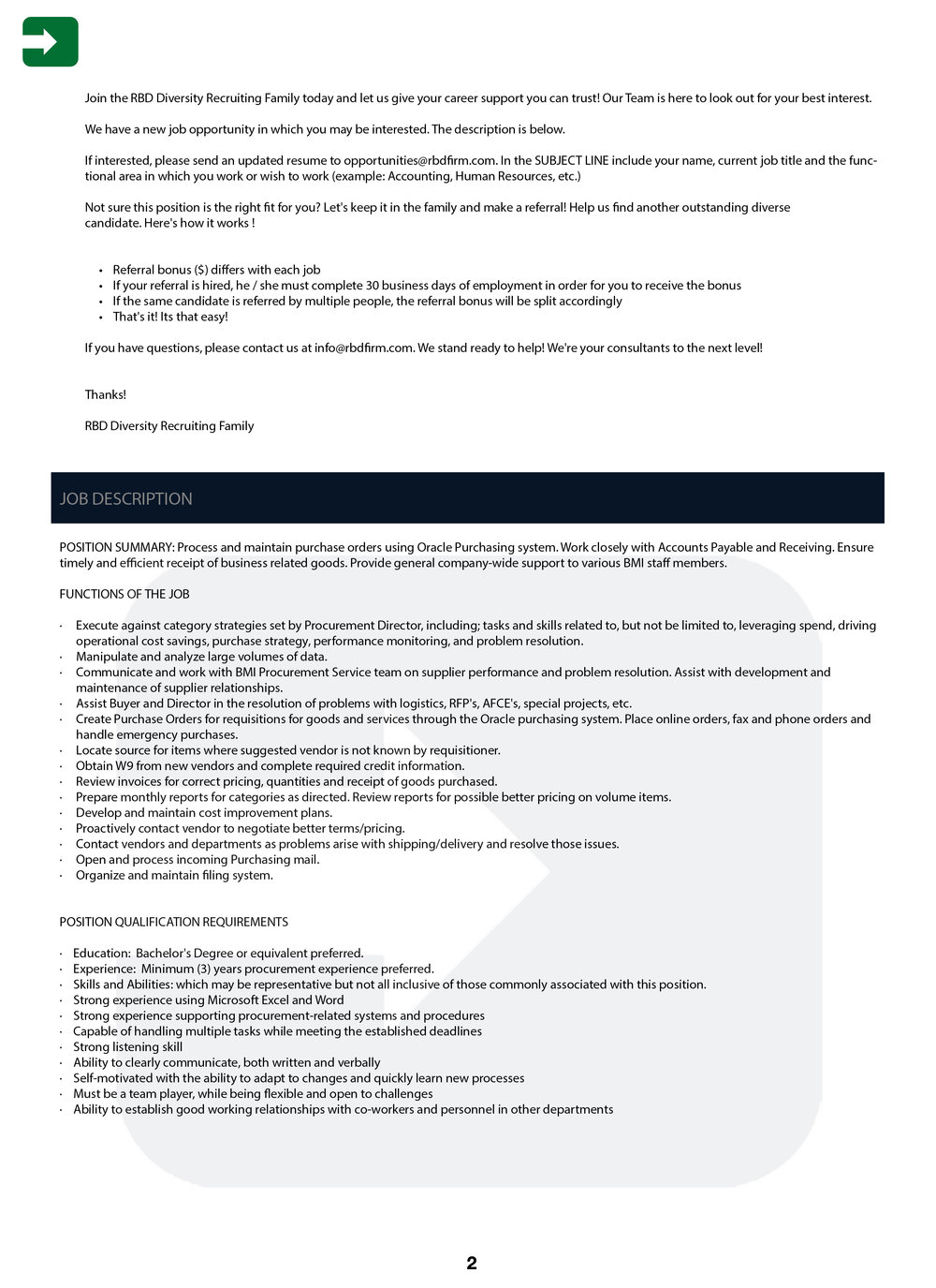BMI (Music Row) Buyer Position — RBD