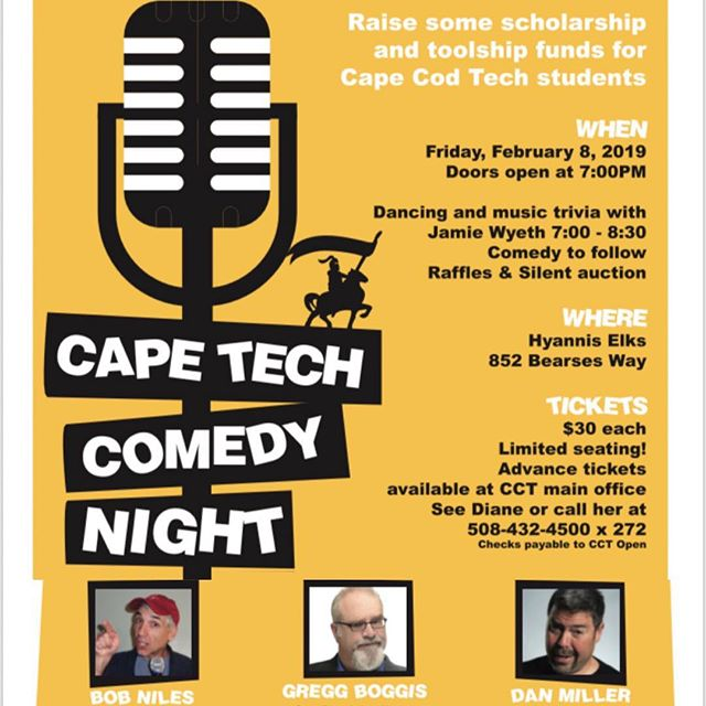 Cape Tech Comedy Night in Hyannis with Bob Niles, Greg Boggis and Danny Miller. #comedy #capetech #capecod