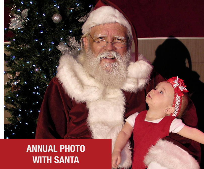 "Every year we host our annual ""Photo With Santa"" Event where families, small & large come take photos with Santa & our team. We then print your photos for the perfect holiday card or momento."