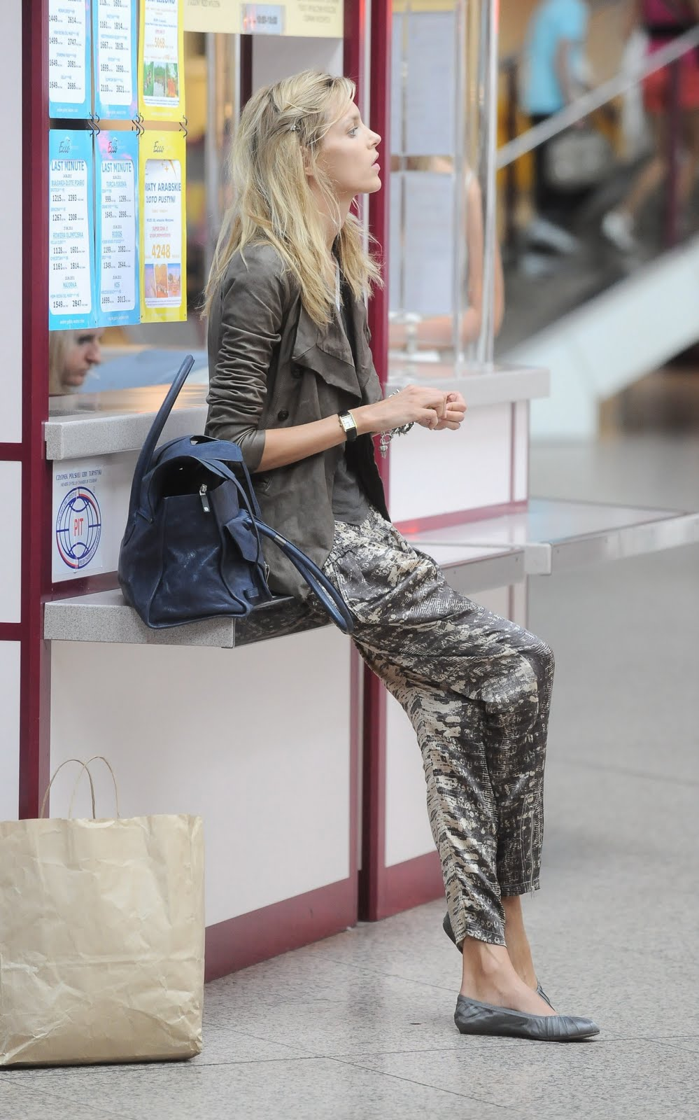 Anja Rubik at Warsaw Airport, Poland