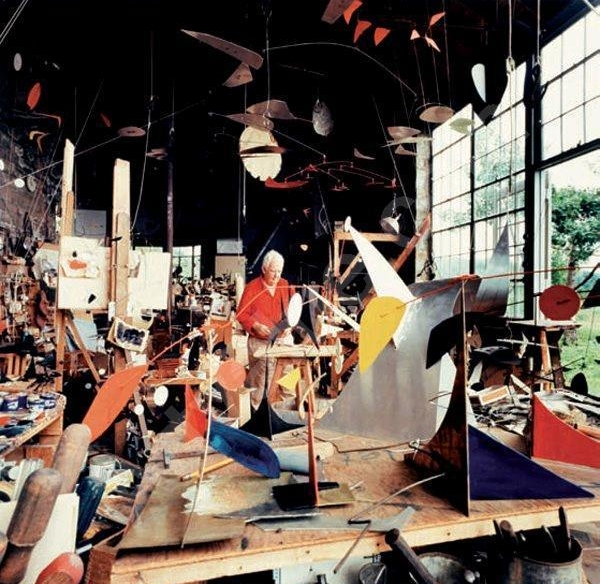 And lastly Alexander Calder's  studio  in Roxbury, Connecticut used 1933-1963. We figured we would end on this image because even one of the most prolific of artist's can have the biggest mess of a studio, and we can relate.