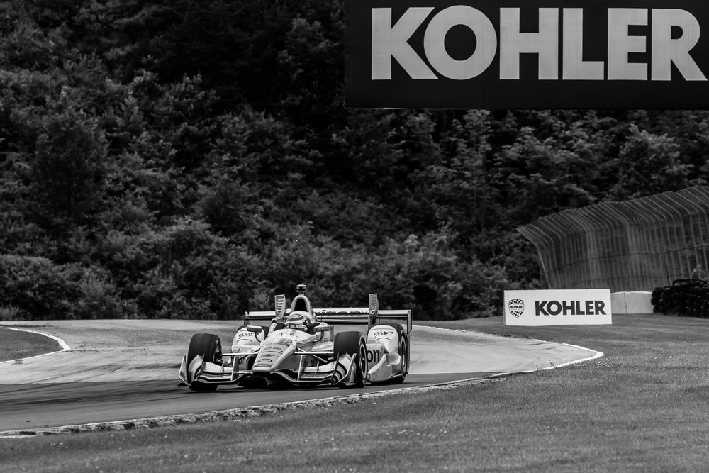 Will Power racing through Turn 14 at Road America.
