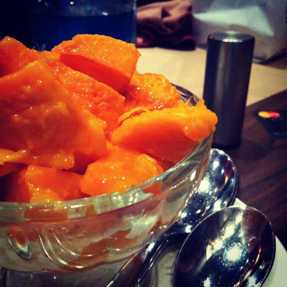Fresh alphonso mango with ice cream