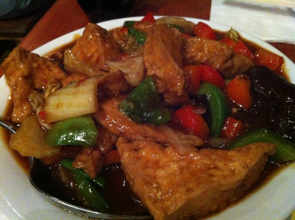 Fried beancurd and mixed vegetables at Beijing Dumpling in Chinatown, London