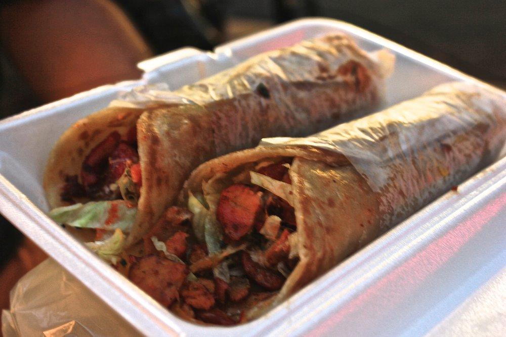 Chicken tikka kathi rolls at Biryani Cart