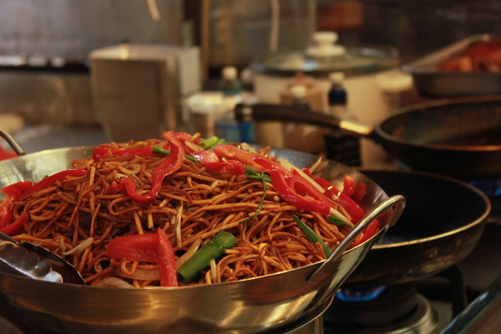Handmade noodles stir fried at Greenwich Market London