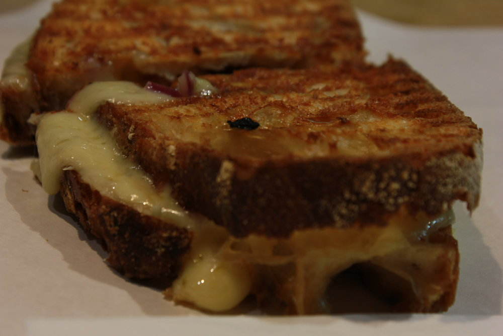 Leek and onion cheese toastie at Greenwich Market London