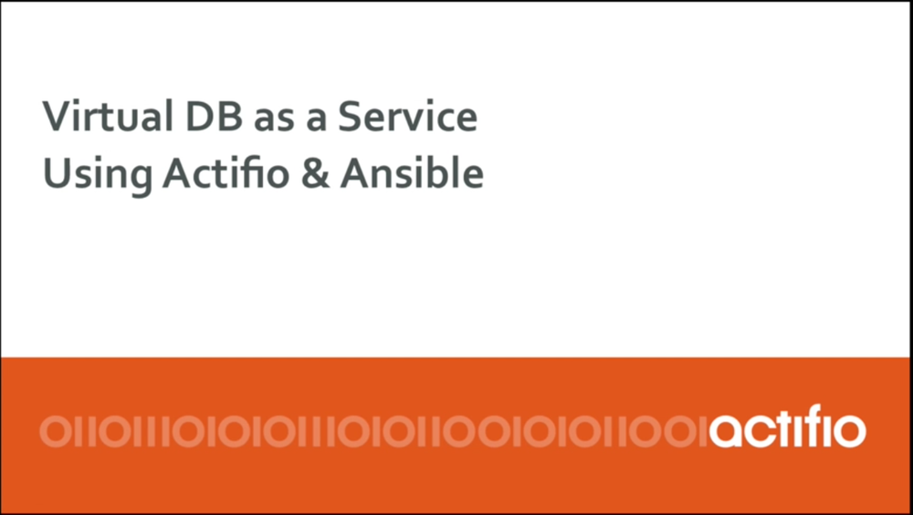 In this demo video, we'll show how the Actifio and Ansible integration enables the creation of 10 virtual copies of 1 TB Oracle DB in less than 5 minutes, and a true Virtual Database-as-a-Service offering.