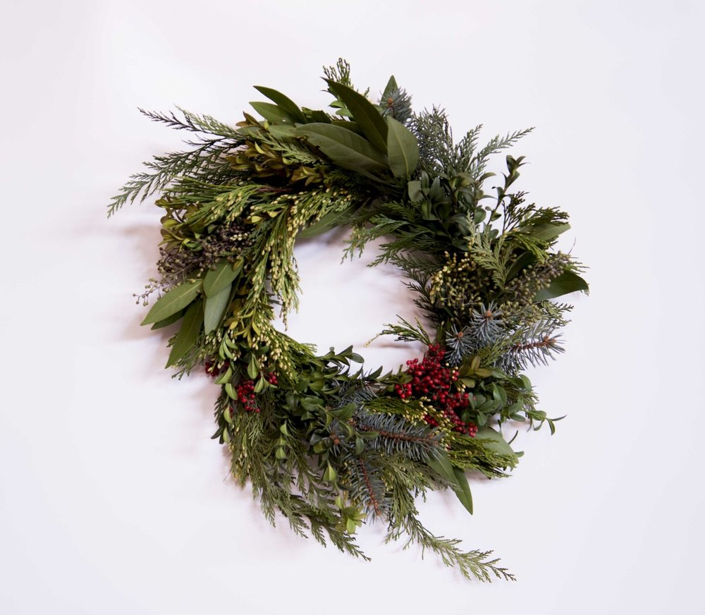 HOLIDAY WREATHS ARE HERE!  - Order a holiday wreath anytime during the months of December + January. We deliver weekly, complimentary in Loveland, every Wednesday and Thursday. Wreath sizes and prices vary. Email us at lucy.wildposies@gmail.com for more information.