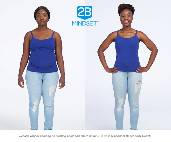 """Imani B. lost 22.5 pounds - """"After that first week, losing seven pounds, I knew I'd found the perfect program for me. Because I'm able to eat the same foods as everyone else, go back for seconds, and still lose weight. My weight loss is a lifestyle. It's an awareness rather than a goal. It's not a temporary fix. A 'diet' is temporary. A 'diet' means you get to your goal and you stop — which is the exact opposite of how weight loss works. A mindset lasts forever. I can do the 2B Mindset for life,"""" says Imani."""