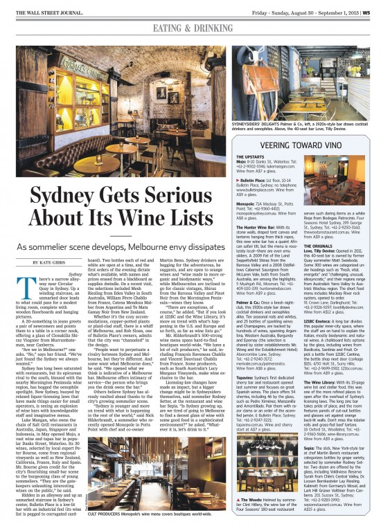 WSJ wine bars