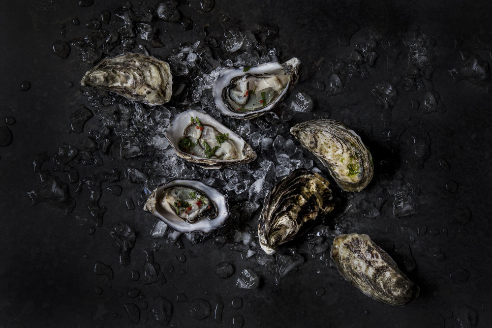 Freshly shucked oysters with mignonette   Recipe    Jumpin' Juice Riesling 2018 - Gippsland, Australia    Domaine Gueissard Le Petit G Dry Rosé 2017 - Bandol, France