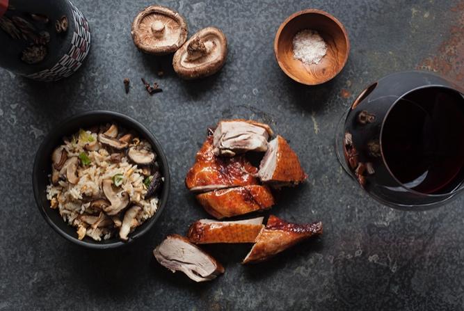 Roast Duck With Shiitake Mushroom Fried Rice   Recipe    Glaetzer 'Nouveau' Pinot Noir 2018 - Tamar and Derwent Valleys, Tasmania