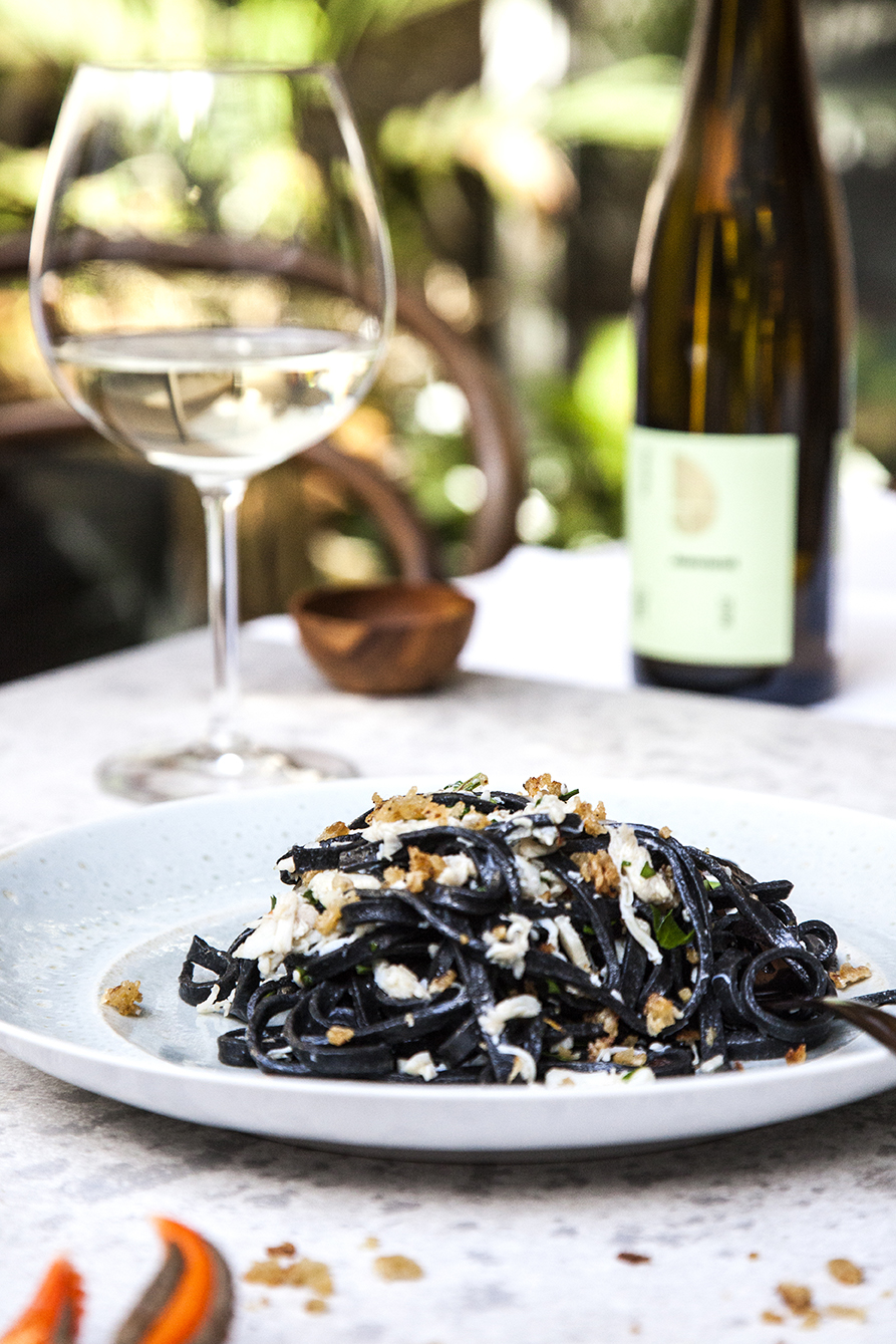 Squid Ink Pasta   Recipe    Paul Blanck Pinot Blanc d'Alsace 2017 - Alsace, France