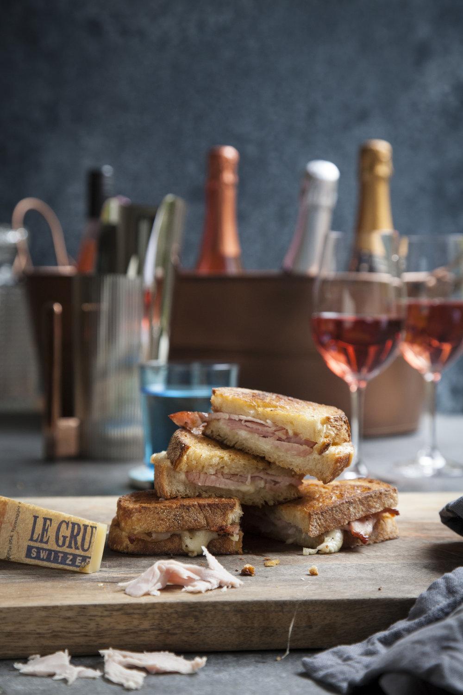 Ham + Gruyere Toastie   Recipe    Domaine du Vissoux Pierre-Marie Chermette Griottes Beaujolais 2017 - Beaujolais, France    Domaine La Florane À Fleur de Pampre Côtes du Rhône Villages 2016 - Rhône Valley, France