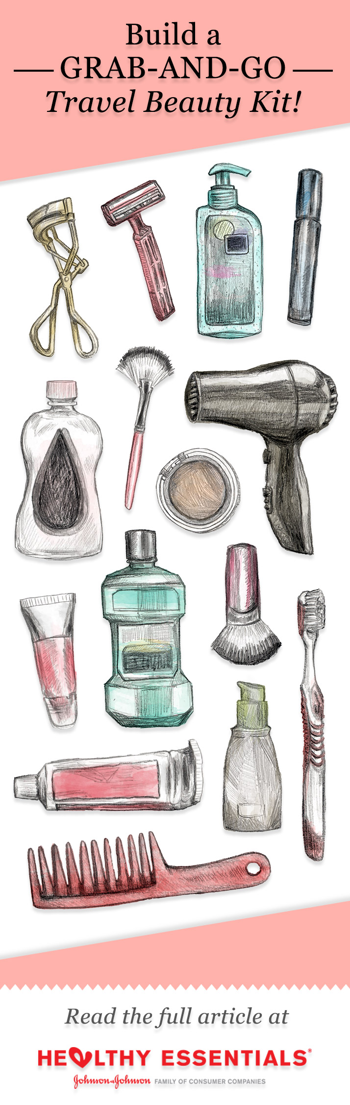 Hand Drawn, Digitally Colored. Healthy Essentials Pinterest Post