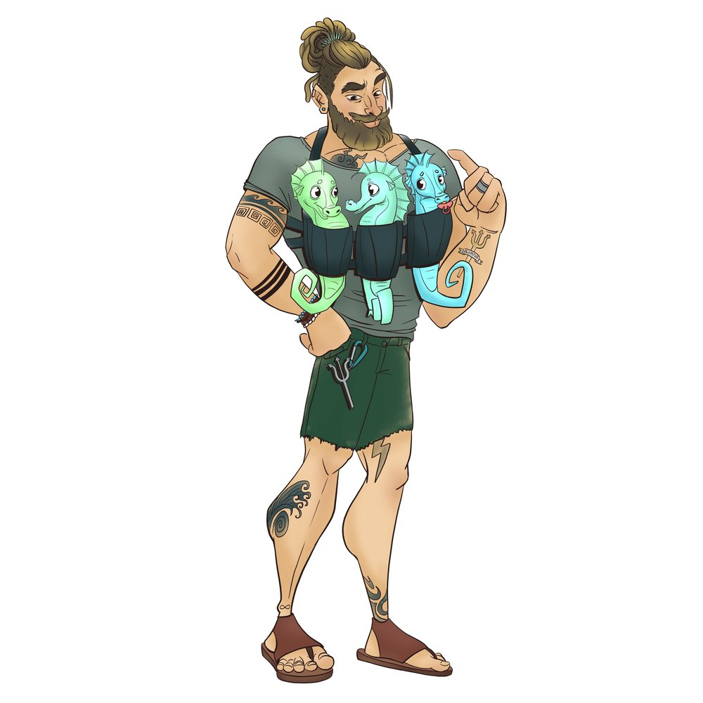 Poseidon Character design: AKA HORSE DAD: When he's not making locally sourced sea kale smoothies or practicing urchin acupuncture he's ruler of all things the sea and storm , dolphins and (sea)horses, has a hot temper and is also brother to Zeus & Hades (who he often bickers with). But lately he's been working on his zen and really trying to ground himself.