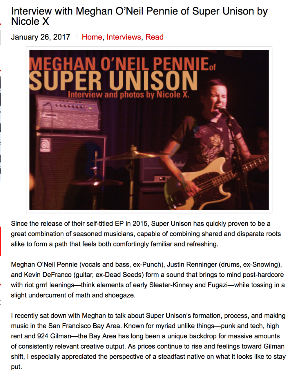 Meghan O'Neil Pennie of Super Unison, 2017: Razorcake