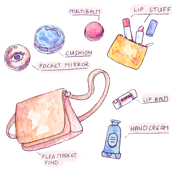 I love beauty and makeup, but rarely have time to apply some - going out means carrying a cushion foundation and lipsticks to do my makeup on the go. Also, hand cream and my beloved hurraw! lip balm. #wimb What's in my bag / pouch, beauty illustration.