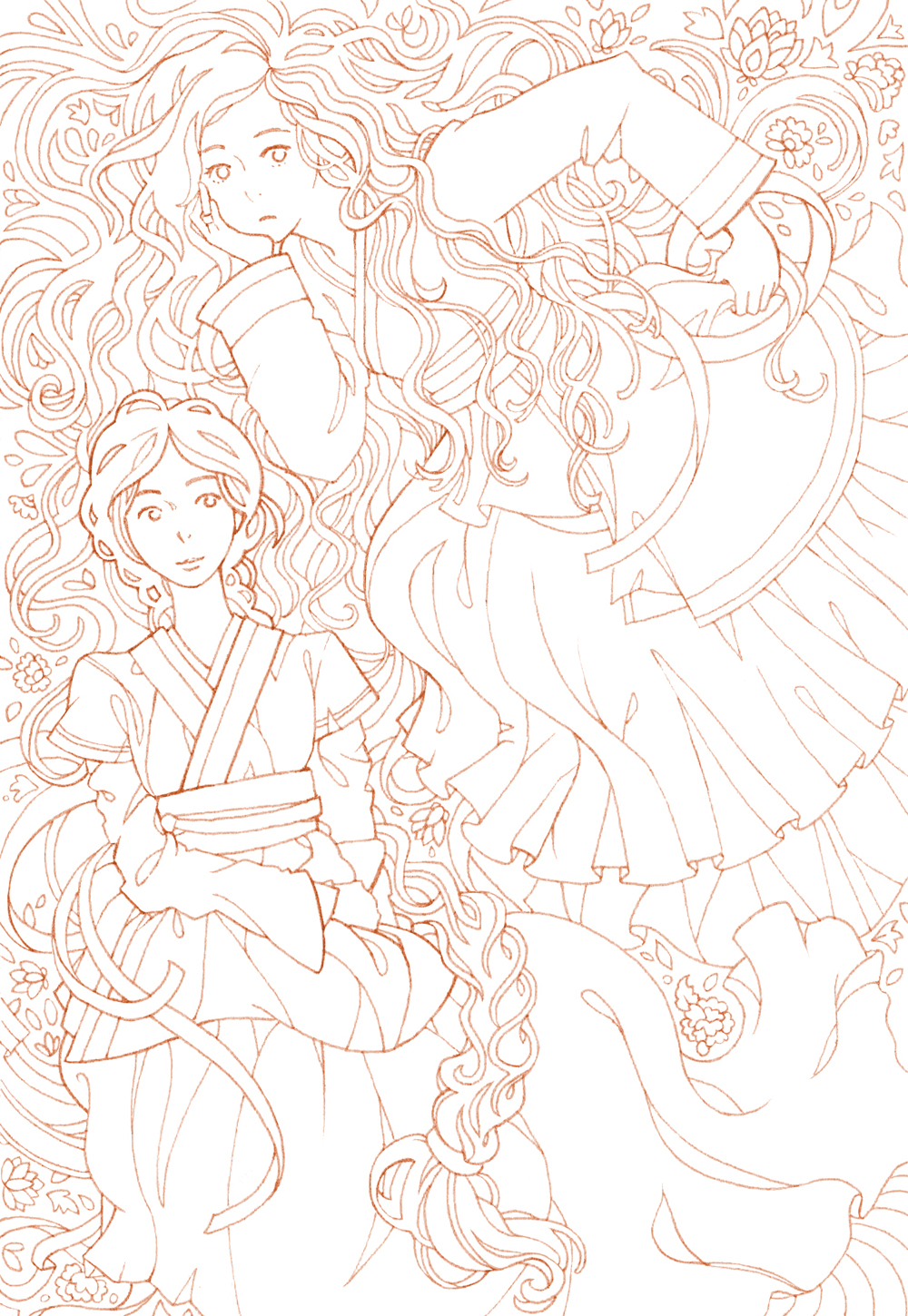 Hanbok girls coloring page. Manga outlines for coloring, Korean traditional dress and patterns.