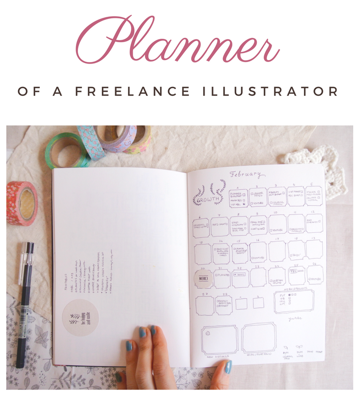 My bullet journal and planner combination setup to organize life and work as a freelance illustrator, blogger and creative business. Keep track of deadlines, personal projects & growth, blog goals and an Etsy shop. February monthly spread.