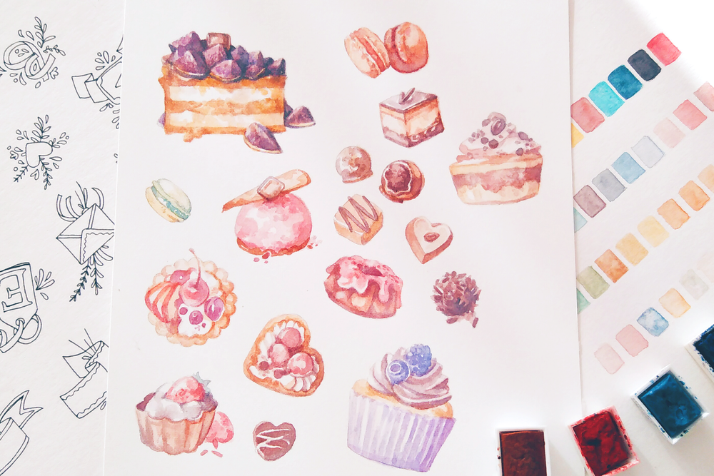 A collection of tarts, cakes, cupcakes, muffins, chocolates and patisserie desserts. Drawing created in watercolor on Fabriano paper, then scanned and made into printable planner stickers.