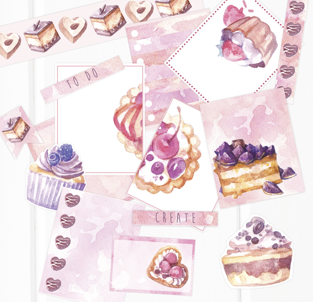 plannerstickers-plannerdecoration-watercolor-cupcakes