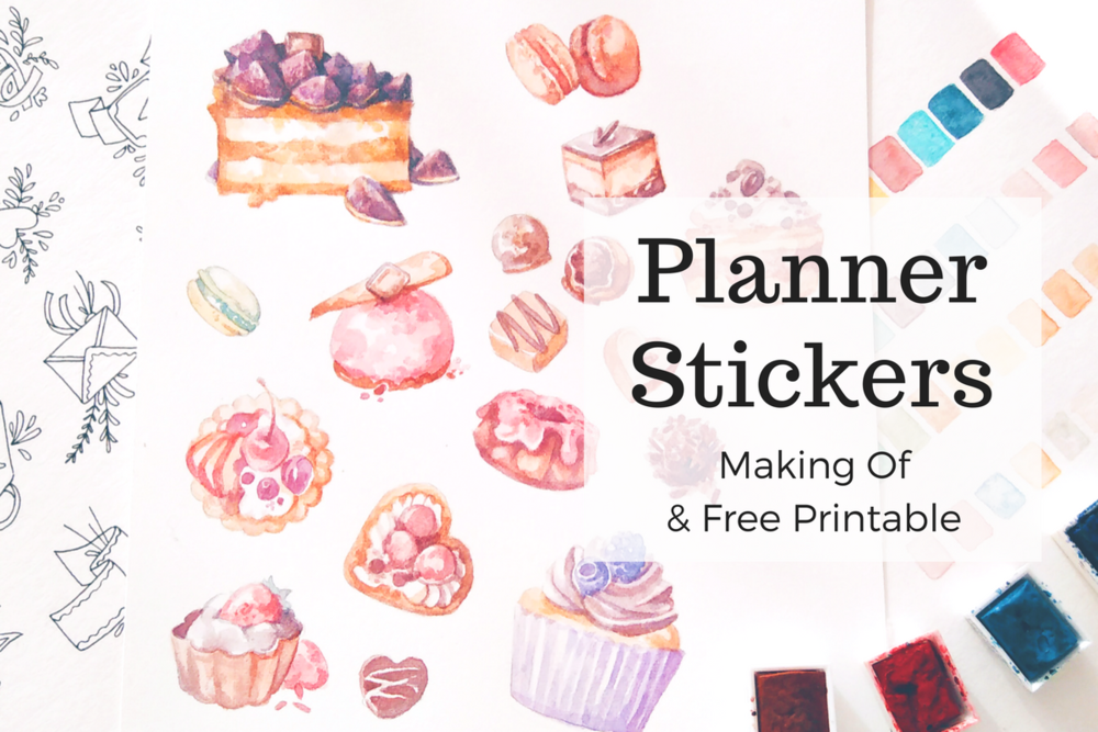 All my sticker designs start as hand drawn watercolor illustrations. These desserts, cakes and patisserie drawings were turned into printable planner stickers for my Etsy shop 'evydraws'.