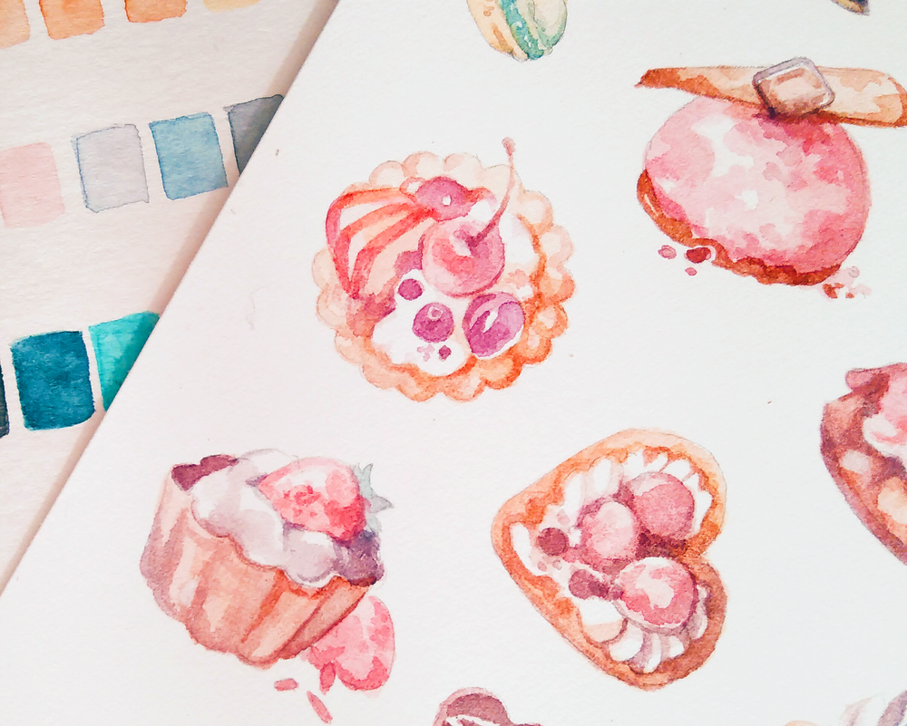 Closer look at those cute tarts (drew them just before Valentine's Day!) in watercolor. Food illustrations are so much fun, and I hope to make more stickers like these in the future.