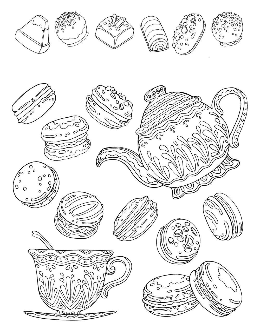 Free printable coloring page for adults, hand drawn 'tea time' illustration. Macarons, tea pot and cup with doodle patterns for coloring.