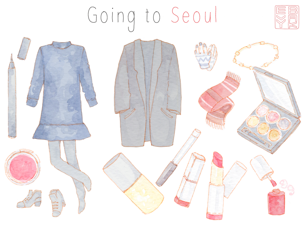 My illustrated outfit of the day and Korean makeup favorites for a short trip to Seoul. Korea has its very own etiquette and rules when it comes to clothes, so I've added a couple of tips to navigate daily outfits in Korea. :)