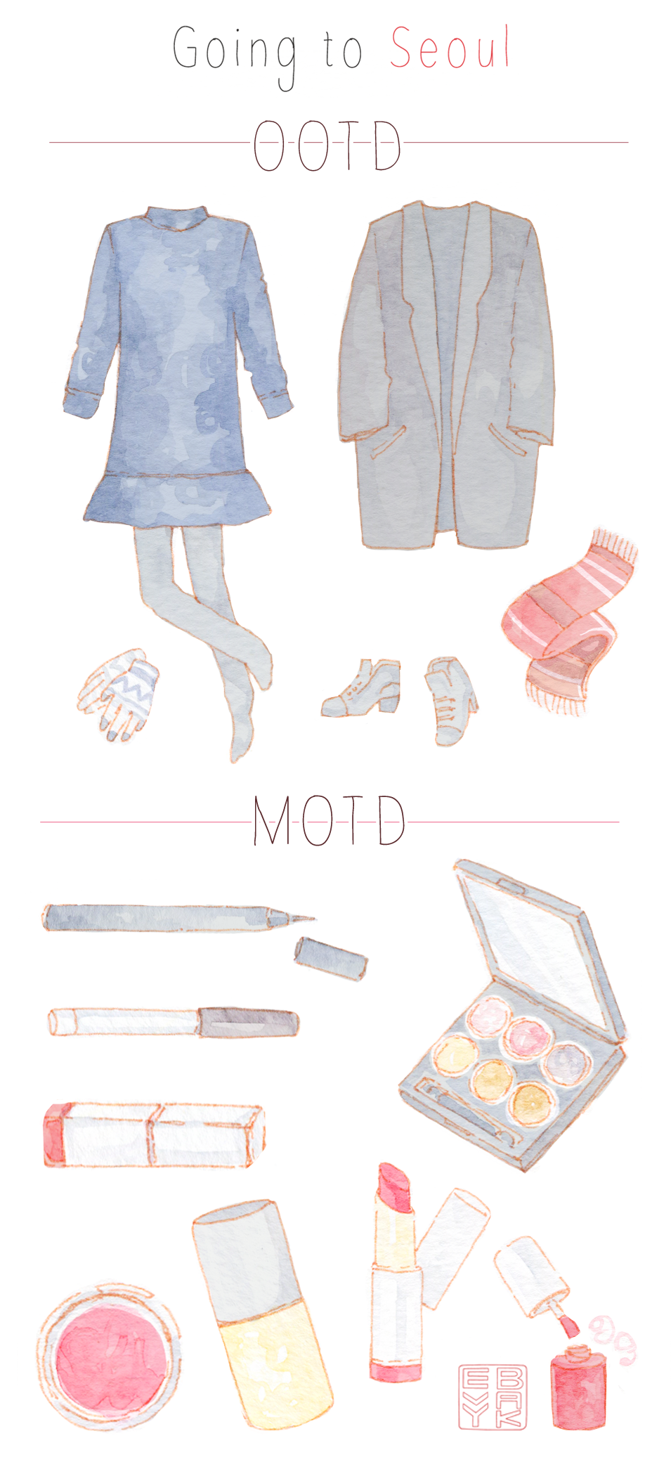 MOTD and OOTD illustrations for a day in Seoul. Simple, minimalist daily outfit for mild winter days, and Korean makeup favorites for a quick, flight-appropriate makeup. Fashion illustration & Daily Look Sketch Diary on the blog.