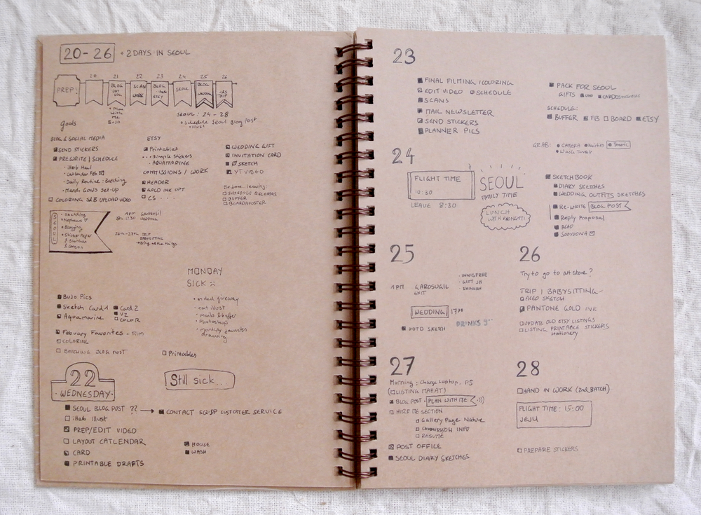 The last days of February in my bullet journal. Being sick, a trip to Seoul and only rare bouts of working Wifi made this one a bit messy, but I still got all my important tasks done.