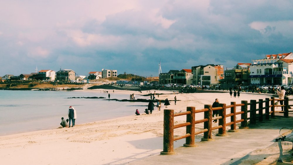 Woljeongri Beach Promenade on Jeju Island - Winter Travel