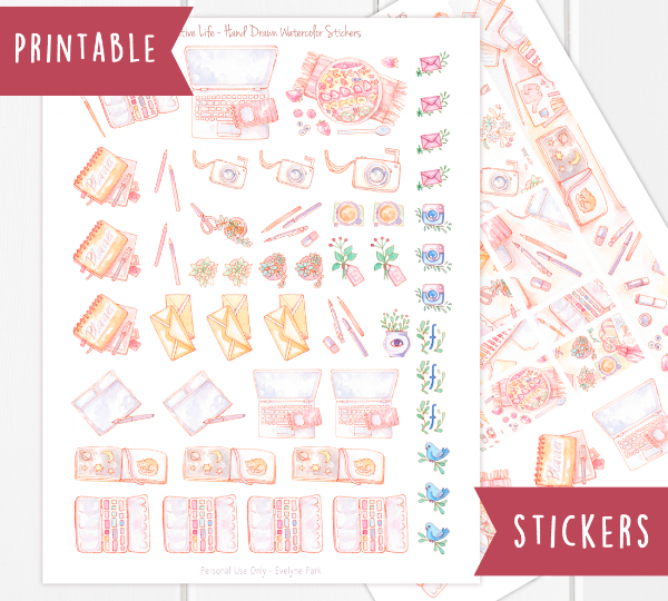 My blog header turned printable sticker file! For creatives, artists, planners, business owners and bloggers - two pages full of watercolor stickers. Social media icons, graphic design and drawing materials, watercolor case, stationery, succulents, creative business desk situation.