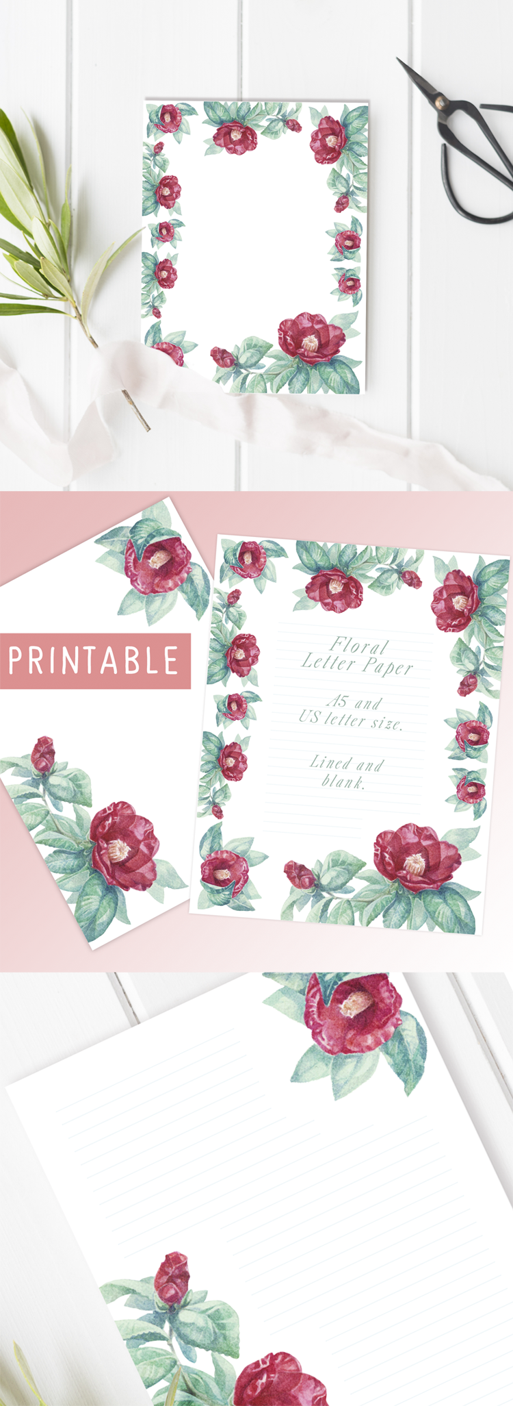 Printable letter papers - free watercolor crystal letter paper printable & Etsy digital file Camellia flower letter paper set.  Romantic vintage stationery printables.