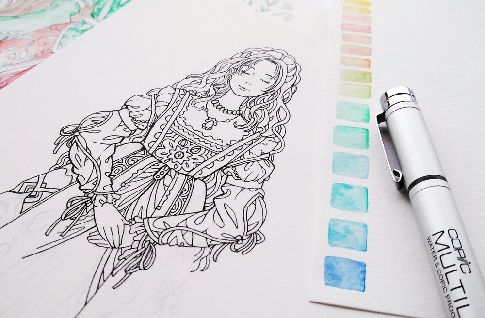 Renaissance dress coloring page in progress.