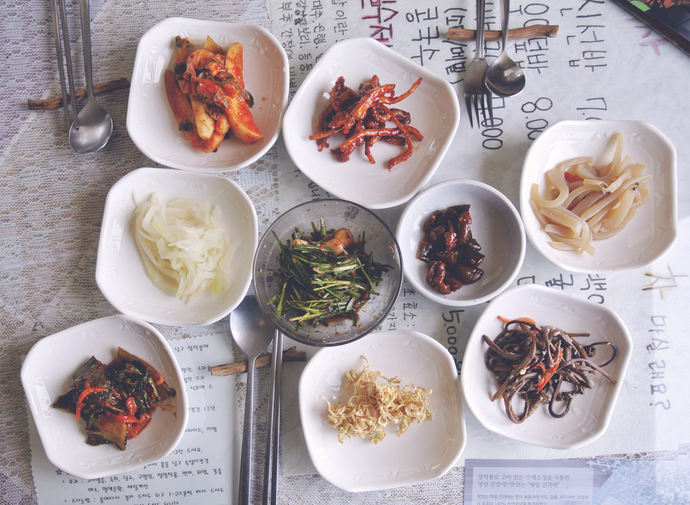 Banchan side dishes at Korean restaurant 'Jayeoneuro', Jeju Island