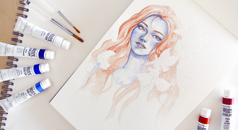 Step by step drawing of a portrait in watercolor. The blue-skinned goddess is a character from 'Strange the Dreamer' by Laini Taylor.