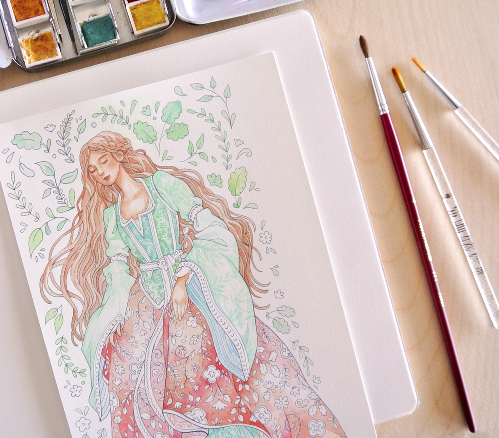 The medieval dress coloring page put a lot of focus on patterns, so I added even more patterns with just watercolors on the sleeves and bodice. I tried to give the face a sun-bronzed look.