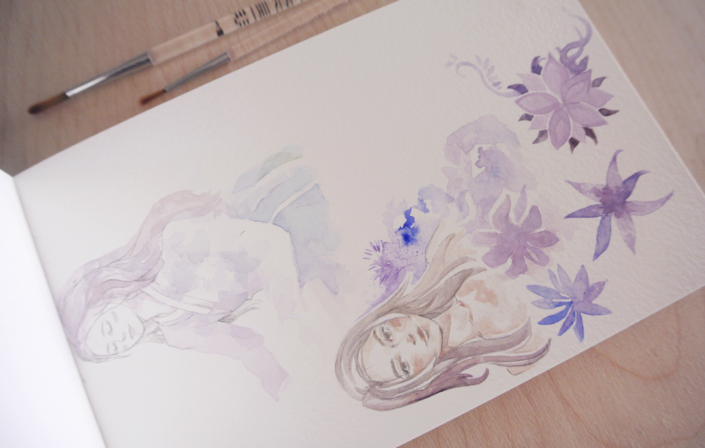 Two quick portrait sketches combined with watercolor patterns.