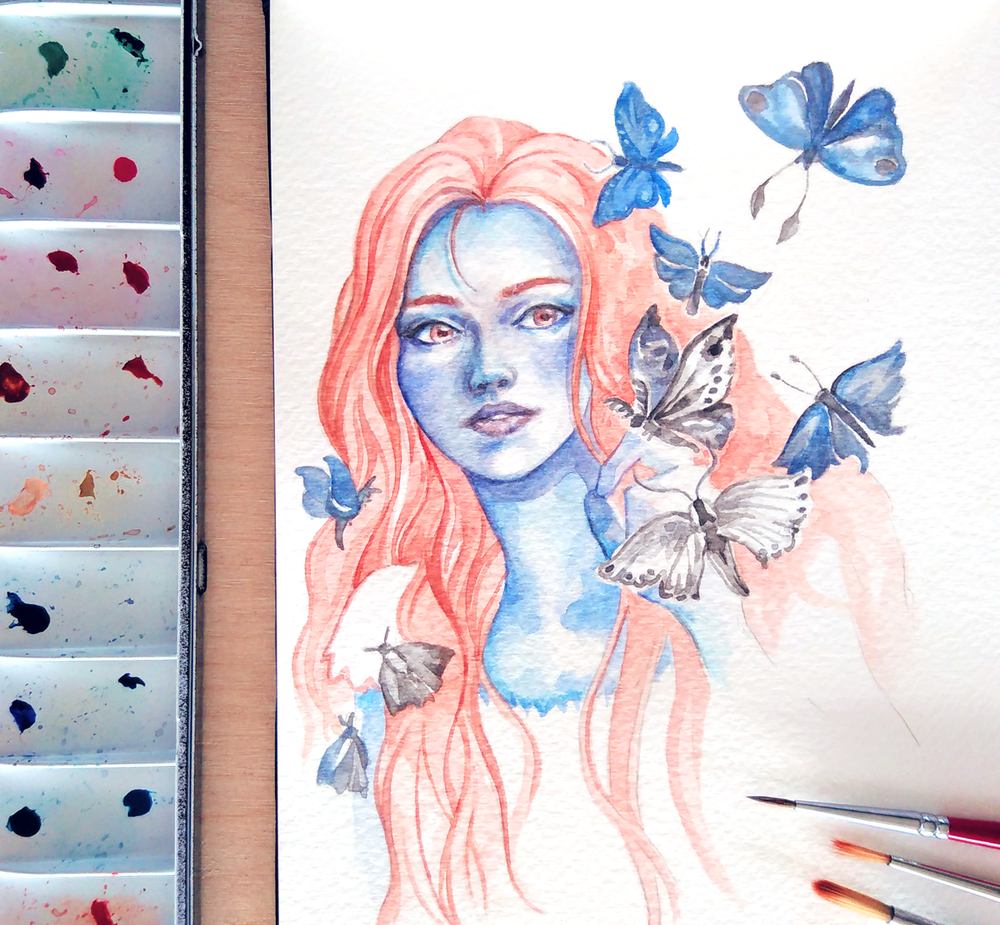 Watercolor Portrait Drawing Practice - Laini Taylor 'Strange The Dreamer' Fanart  The blue skin was so much fun!