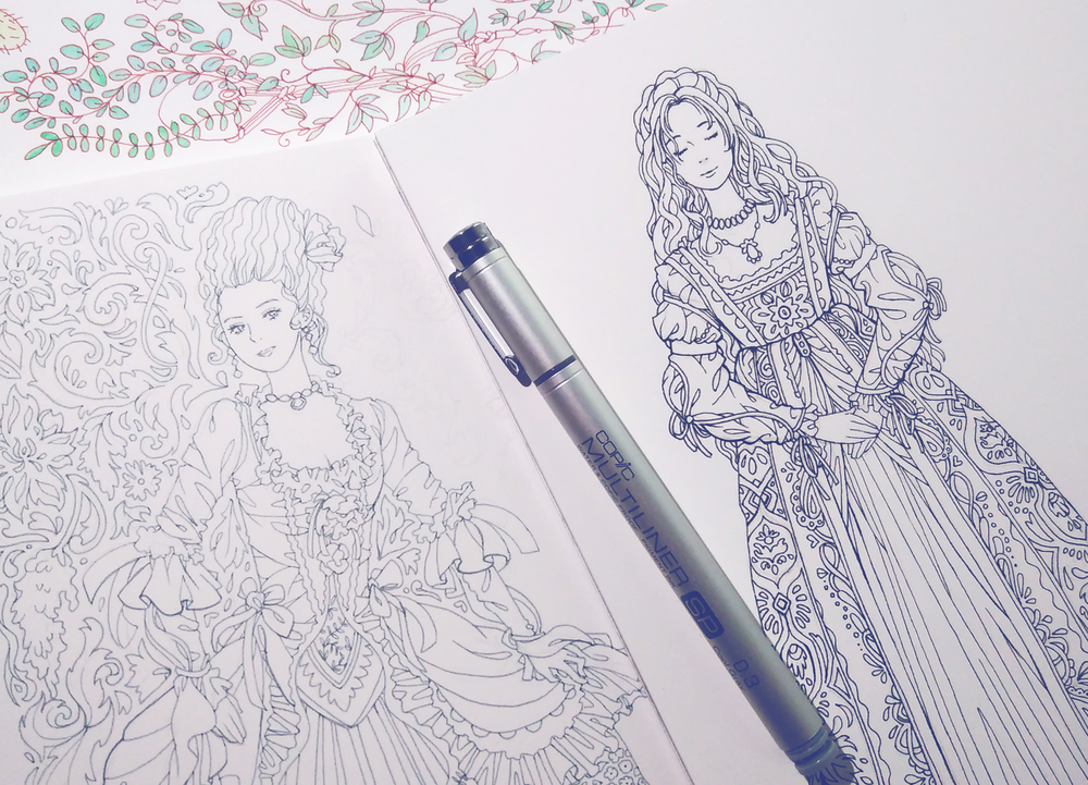 Two of the Historical Fashion coloring pages half-finished. While I drew the faces and bodies as part of the #100DaysofPortraits, I added the patterns in the background later on when I had time.