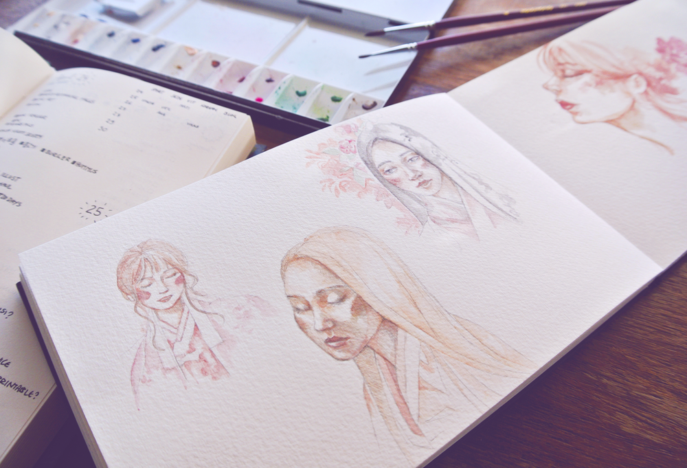 Portrait sketches of women wearing Hanbok. Watercolor on pencil drawings.