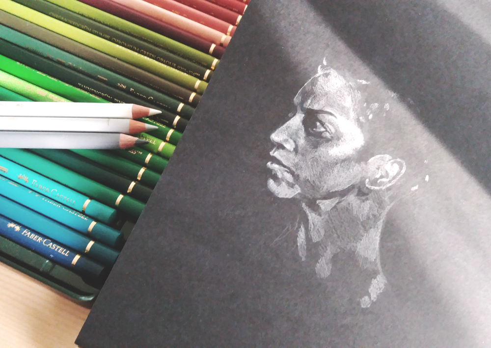Colored pencil on black paper portrait drawing practice - Naomi Nagata, The Expanse.
