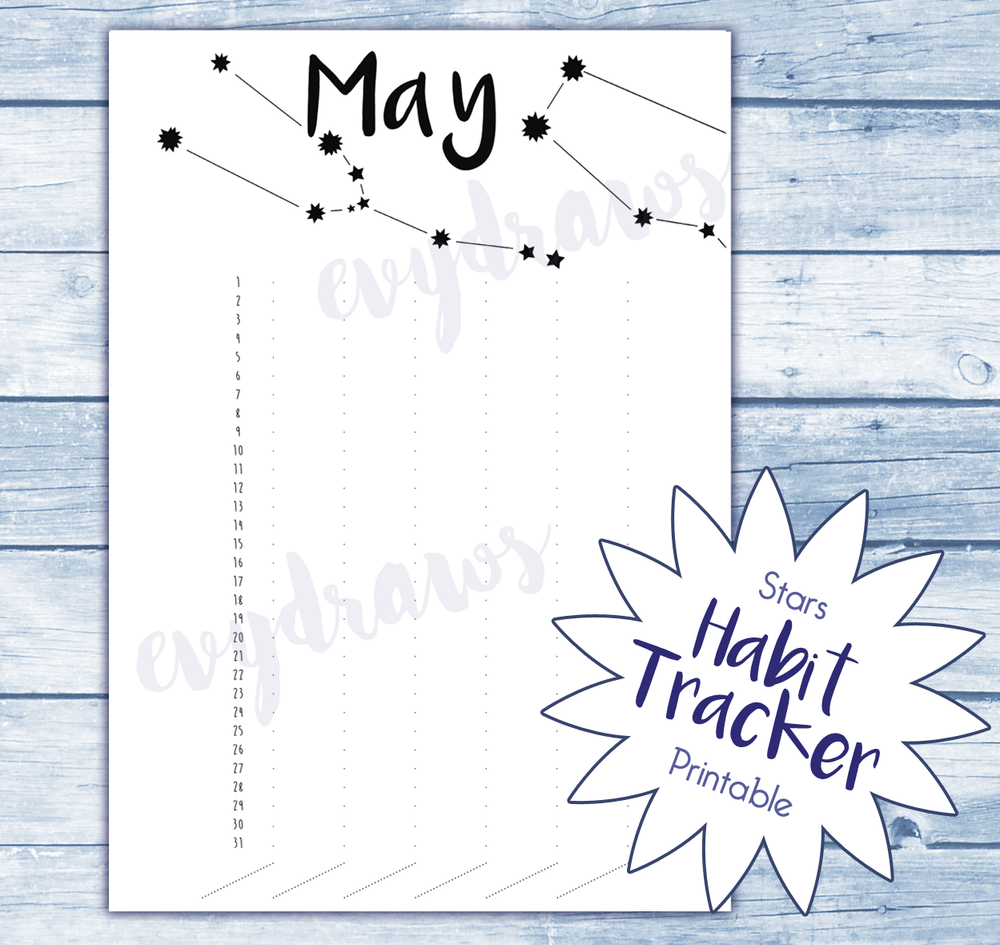 Free printable habit tracker with a star sign theme for May!